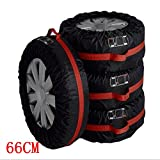 Car Black Red 13-16'' ,17-20'' Automotive Spare Tire Tyre Wheel Cover With Carrying Handles Tote Car Wheel Protector Storage Bag (4PCS Of Pack) (66cm)