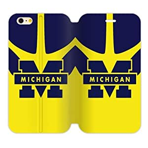 """Generic Custom Unique Design NCAA University of Michigan Wolverines Blue and Yellow Team Logo TPU and High Grade PU Leather Cover Case for iPhone6 4.7"""" by ruishername"""