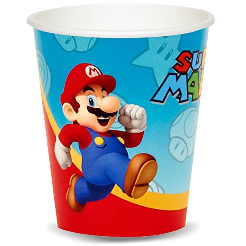 Super Mario Party Supplies - 9 oz. Paper Cups (8) - Super Mario Party 9