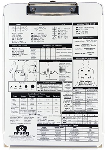 Nursing Clipboard with Storage and Reference for Nursing Students and Nurses: White Durable Plastic Medical Clipboard (Includes 2 Freebies: Nursing Brain Sheet and Physical Assessment Sheet)