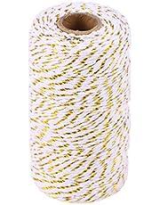 Toyvian Cuerda de cordón de algodón de Cuerda de Boda de Cuerda de Boda de Cuerda de la Guita de la Guita de algodón de 100 m (Dorado, Blanco)