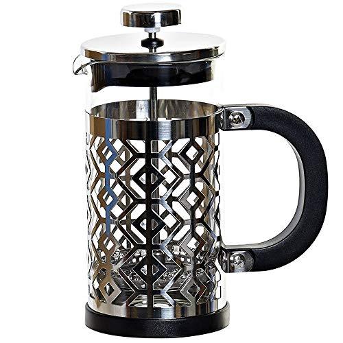 MGE – Cafetera Émbolo – Cafetera Francesa – Expresso – Borosilicato + Acero – 350 ml – Negro