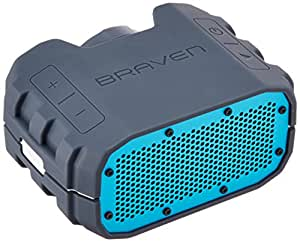 BRAVEN BRV-1 Portable Wireless Bluetooth Speaker [12 Hours][Waterproof] Built-In 1400 mAh Power Bank Charger - Gray / Cyan