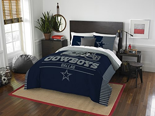 The Northwest Company NFL Dallas Cowboys Draft Full/Queen Comforter and 2 Sham - Cowboy Pillow Panel