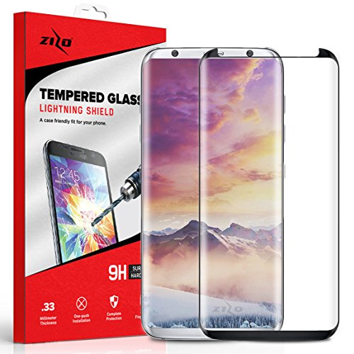 Zizo Full Glass Compatible with Samsung Galaxy S8 Plus Full Edge to Edge Tempered Glass Screen Protector Anti Scratch 9H Hardness Black