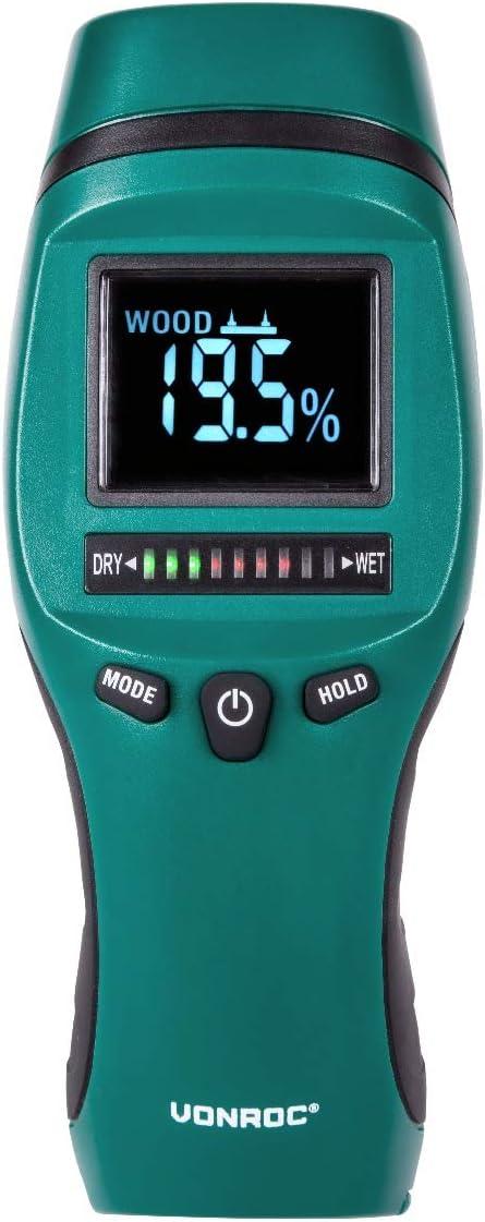 Ecran LCD avec r/étro /éclairage Mesure lhumidit/é et moisisure Usage professionnel et pr/écis VONROC Humidim/ètre