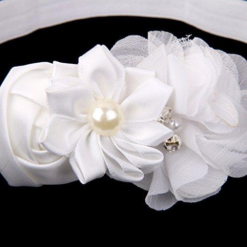 Gazechimp Bébé Fille Photographie Bande De Cheveux Blanc + Sandale Perle Fleur Jaune