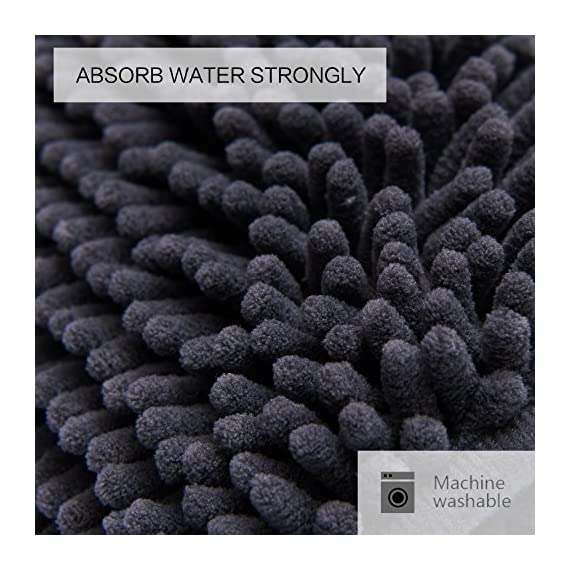 DEARTOWN Non-Slip Shaggy Bathroom Rug,Soft Microfibers Chenille Bath Mat with Water Absorbent, Machine Washable(Dark Grey,31x59 Inches) - GREAT ABSORBENCY: The chenille area rug can absorb water quickly, it has strong water-absorbent ability because of plenty of microfiber shags can keep your room floors dry and clean. Regularly be exposed to the sun to keep the mat always dry and clean. NON-SLIP: The non-slip bathroom mat for floor is backed with TP Rubber to prevent shifting and skidding. Please place the toilet rug on DRY SMOOTH FLOOR only. Water under the bathroom rug can cause it to slip. Keep bottom of the bath rug dry. PAMPER YOUR FEET: This bath mat for bathroom is constructed with thousands of individual microfiber shags, sink your toes into the comfortable contentment of a bathroom floor mat from threshold. Soft pile that soothes tired feet and shields toes from the cold floor. - bathroom-linens, bathroom, bath-mats - 51nnYJ2rNHL. SS570  -