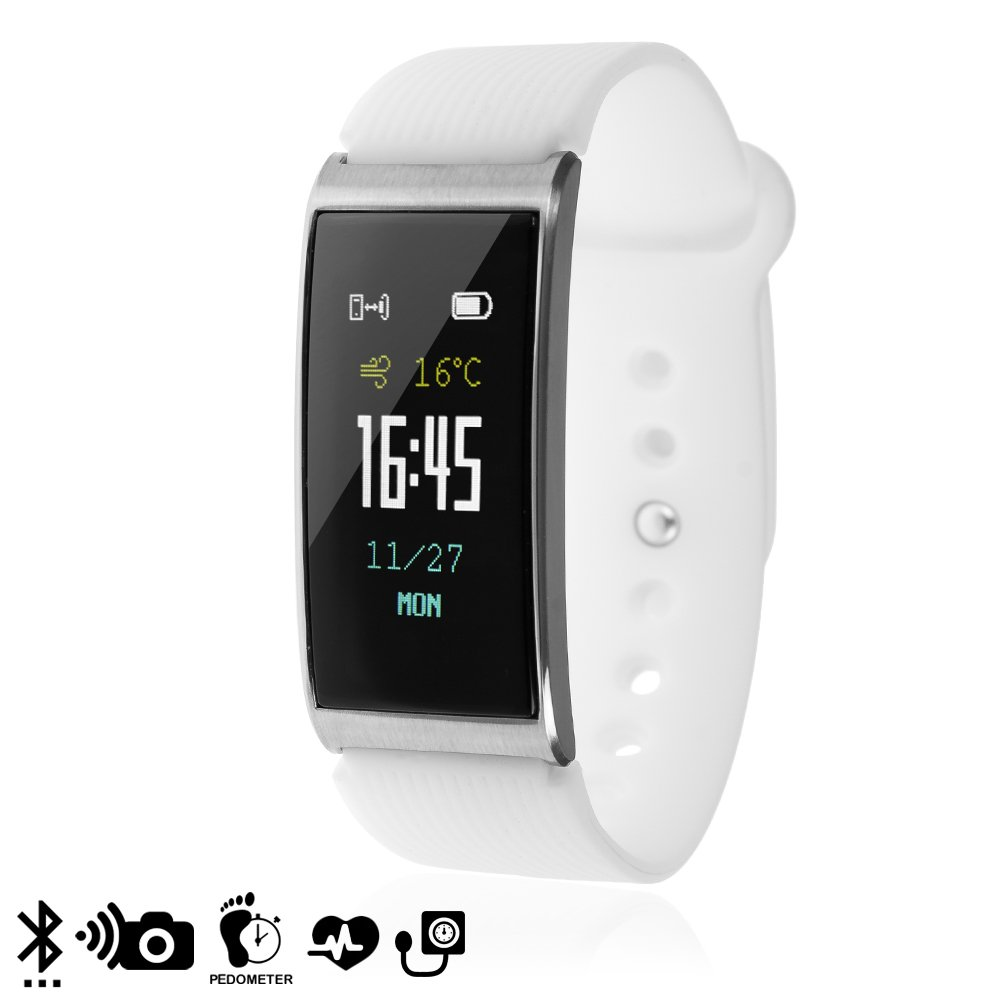 Silica DMX097WHITE DMX097WHITE - Brazalete Inteligente x3 con Monitor cardiaco, presión sanguínea Blanco