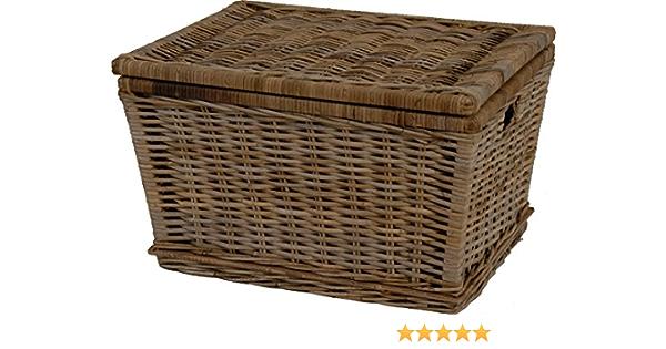 Tapa para cesta de mimbre, cesta de mimbre, de almacenaje con tapa de colour blanco-diseño de ratán, de colour gris (grande de 60 x 48): Amazon.es: Hogar