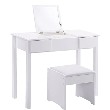 Excellent 35 4 Modern White Flip Top Mirror Vanity Dressing Table Set Ncnpc Chair Design For Home Ncnpcorg