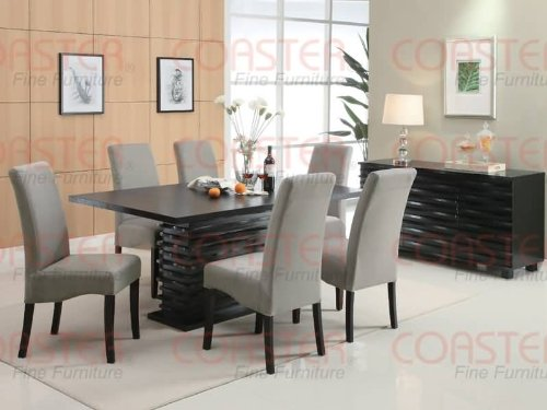 Coaster Home Furnishings  Stanton Modern Contemporary Wave Design Rectangular Dining Table - Black