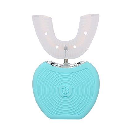 Anself 360 ° Cepillo de dientes ultrasónico U Tipo de cabezas Cepillo de dientes para limpieza personal (azul)