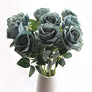 cn-Knight Artificial Flower 22'' Long Stem Silk Velvet Rose Real Touch Faux Flower for Wedding Bridal Bouquet Bridesmaid Home Decor Office Hotel Baby Shower Party Prom Centerpiece 6