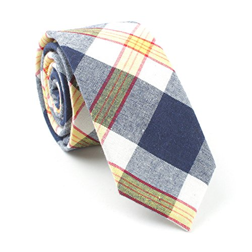 TAGERWILEN 100% Cotton Orange Plaid Skinny Tie (yellows)