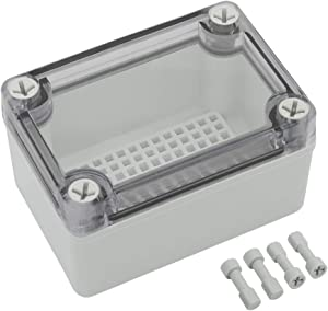 LMioEtool Waterproof Dustproof IP67 ABS Plastic Junction Box Universal Electric Project Enclosure Pale Gray with PC Transparent/Clear Cover (3.7