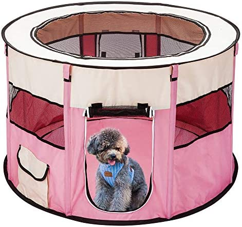 Pet Puppy Playpen Pop up Soft Sided Mobile Play Pet Pen Crates Enclosures Dog Kennel For Small Medium Large Dog 600D Oxford Cloth Portable Foldable 45 8 Panel Pet Playpen with carry bag Pink