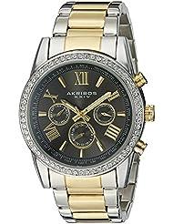 Akribos XXIV Mens AK868TTG Round Dark Gray Dial Three Hand Quartz Two Tone Bracelet Watch