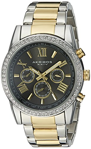 Akribos XXIV Men's AK868TTG Round Dark Gray Dial Three Hand Quartz Two Tone Bracelet (Gray Dial Gold Bezel)
