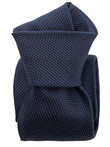 Elizabetta Men's Italian Silk Grenadine Tie, Navy Blue, Handmade in Italy