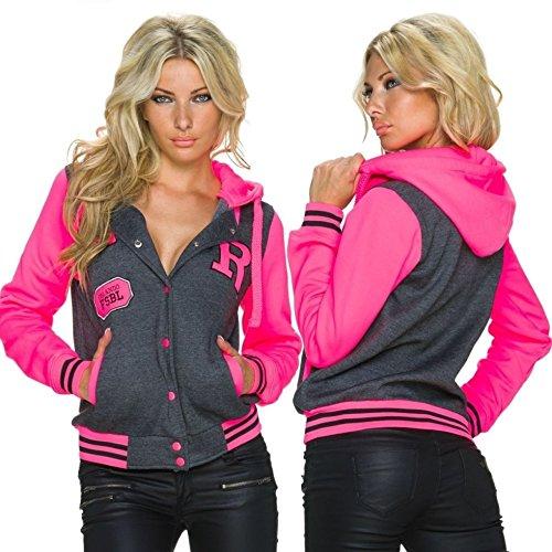 College-Sweat-Jacke mit Kapuze - stone/pink