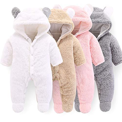 Pasgeboren baby Cartoon Beer Sneeuwpak Winterjas Fleece Hooded Romper Jumpsuit (Grijs, 9-12 maanden)