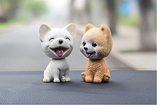 URToys 2Pcs Cute French Bulldog &The Pomeranian Car-Styling Shaking Head Dog Car Ornament Resin Automobile Dashboard Swing Nodding Head Dog Doll Decoration Ornaments Toys Gift