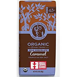Equal Exchange Organic Caramel Milk With Sea Salt Crunch Chocolate 43% Dark Bar, 6 pack 43 Deliciously sweet and creamy, this milk chocolate bar has crunchy caramel bits and mouthwatering sea salt crystals.