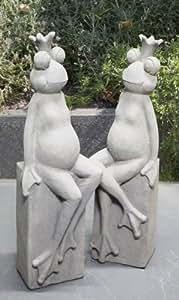 Escultura De La Rana 'Kalle', 80 cm, gris antiguo