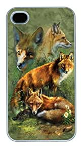 Children's Red Fox Collage Custom iPhone 4s/4 Case Cover Polycarbonate White