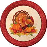 Creative Converting Thanksgiving Scroll Bulk Round Dinner Plates, 18 Count