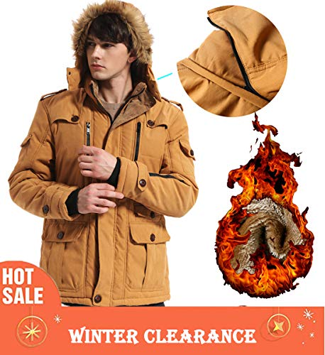 Yozai Mens Military Winter Coat with Multi Pockets and Detachable Fur Hooded Mustard Yellow Medium]()