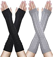 FZAY 2 Pairs Womens Winter Knit Long Fingerless Gloves - Thumbhole Arm Warmers (Black & Light G