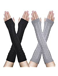 FZAY 2 Pairs Womens Winter Knit Long Fingerless Gloves - Thumbhole Arm Warmers (Black & Light Gray)