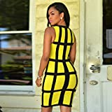 IEason Women Dress Bandage Cocktail Sleeveless Bodycon Evening Party Dresses (L, Yellow)