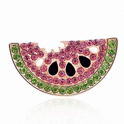 Pin Brooch Fruit (Jana Winkle Rhinestone Watermelon Brooches Women Cute Fruit Brooch Pin Kids Backpack Badges Jewelry)