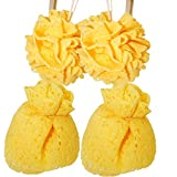 Cherhoo Bath and Shower WoodPulp Cotton , Soft Mesh Puff offers Rich Foam & Pleasant Showering (2 yellow rose, 2 yellow flower)