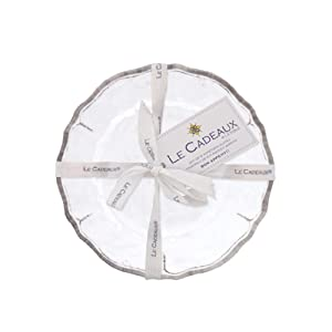 Le Cadeaux 097RUAW Rustica Antique White Appetizer Plates Set of 4, 6 inches,