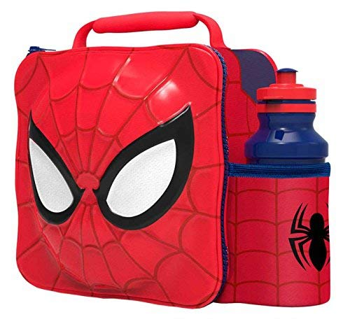 Kids Children Insulated 3D Lunch Bag Box And Drink Sport Water Bottle Set (Spiderman)]()