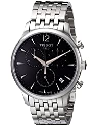 Tissot Mens T063.617.11.067.00 Charcoal Stainless Steel Bracelet Watch with Black Dial
