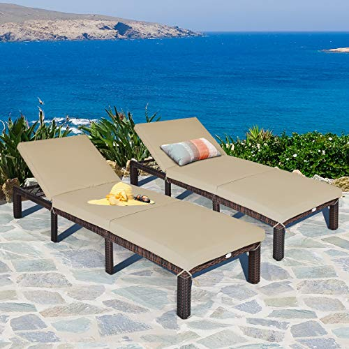 Relax in wicker chaise lounge chairs