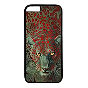 Hard Back Cover Case for iphone 6 Plus,Cool Fashion Black PC Shell Skin for iphone 6 Plus with The Lion of Red Spots