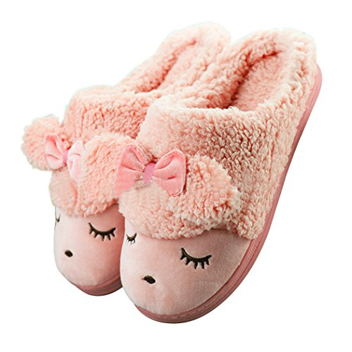Womens Sheep Warm Plush Soft Sole Indoor Slipper red 5-6 B(M) US