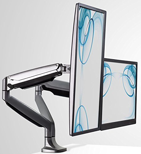 Mount-It! MI-1772 Dual Computer Monitor Mount, LCD Monitor Mount for Desk, Clamp, Articulating Gas Spring Arms, Computer Monitors up to 32 Inches, VESA 75x75 100x100, 20 Lb Capacity Each Arm, Silver