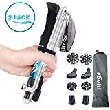 Koviti Trekking Poles Collapsible Hiking Poles - 2 Pack Auminum Alloy 7075 Walking Stick, Adjustable Quick Lock, Antishock Lightweight Folding Poles with 8 Season Accessories for Hiking, Camping