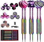 KiScooter Steel Tip Darts Set, 6 Steel Darts Tips + 6 Brass Dart Body + 6 Custom Aluminum Darts + 30 Custom Pa