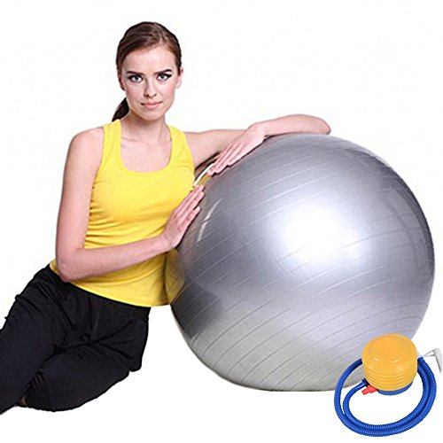 Exercise Ball Perfect for Pilates, Yoga, Cross Training and pregnancy gymnastics PVC anti-burst non-slip surface yoga ball balance grey 55cm (gray, 55cm) - Stationary Seating
