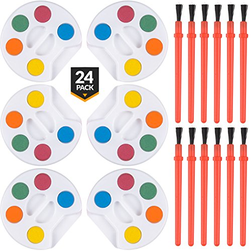 - Bedwina Mini Watercolor Kids Paint Set - (Bulk Pack of 24) - 5 Water Color Paints, Palette Tray and Painting Brush, for Art Party Favors, Kids Prizes, and Paint Party Supplies