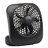 O2COOL 5-Inch Portable Desktop Air Circulation Battery Fan - 2 Cooling Speeds - Compact Folding & Tilt Design, Black