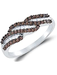 Size 7 925 Sterling Silver Invisible Channel Set Round And Baguette Cut Chocolate Brown